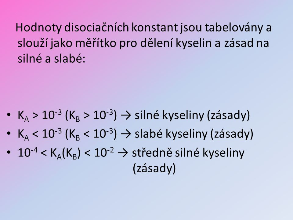 Hodnoty disociačních konstant jsou tabelovány a slouží jako měřítko pro dělení kyselin a zásad na silné a slabé: