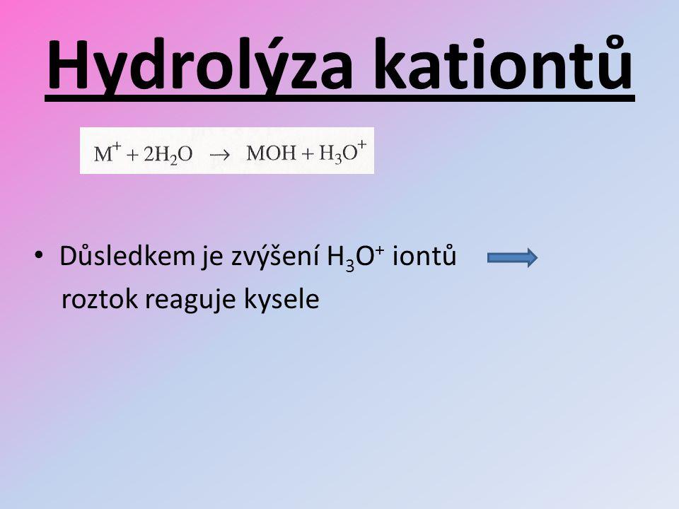 Hydrolýza kationtů Důsledkem je zvýšení H3O+ iontů