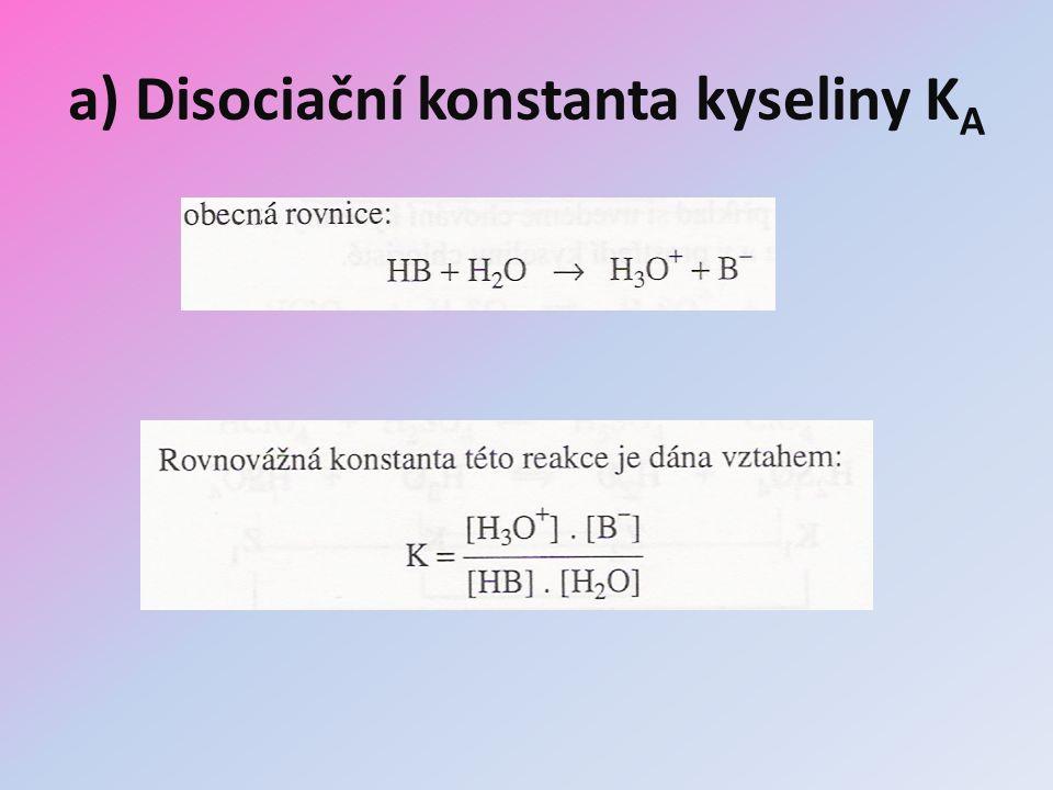 a) Disociační konstanta kyseliny KA
