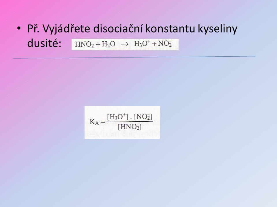 Př. Vyjádřete disociační konstantu kyseliny dusité: