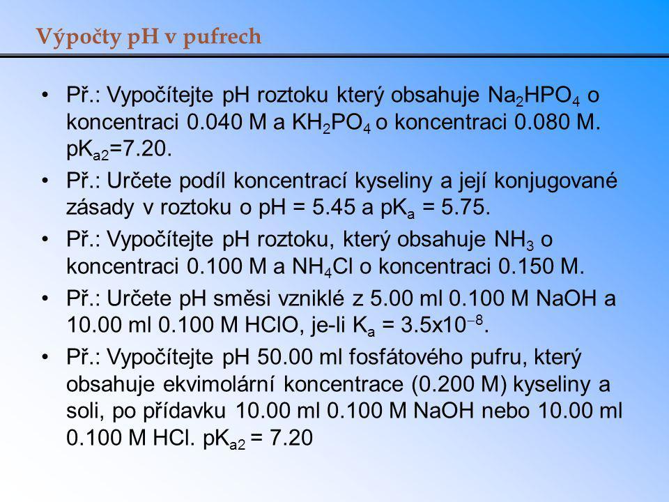 Výpočty pH v pufrech Př.: Vypočítejte pH roztoku který obsahuje Na2HPO4 o koncentraci 0.040 M a KH2PO4 o koncentraci 0.080 M. pKa2=7.20.