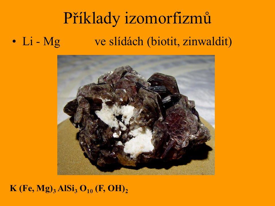 Příklady izomorfizmů Li - Mg ve slídách (biotit, zinwaldit)