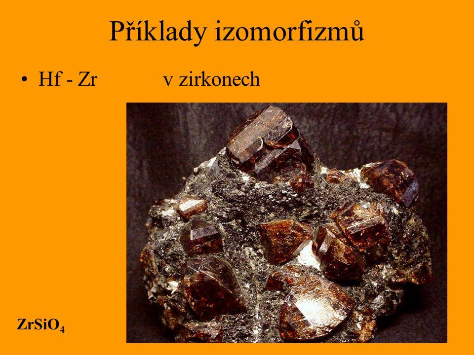 Příklady izomorfizmů Hf - Zr v zirkonech ZrSiO4