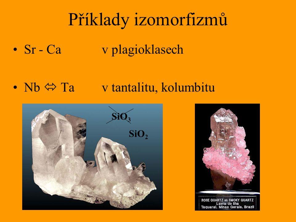 Příklady izomorfizmů Sr - Ca v plagioklasech