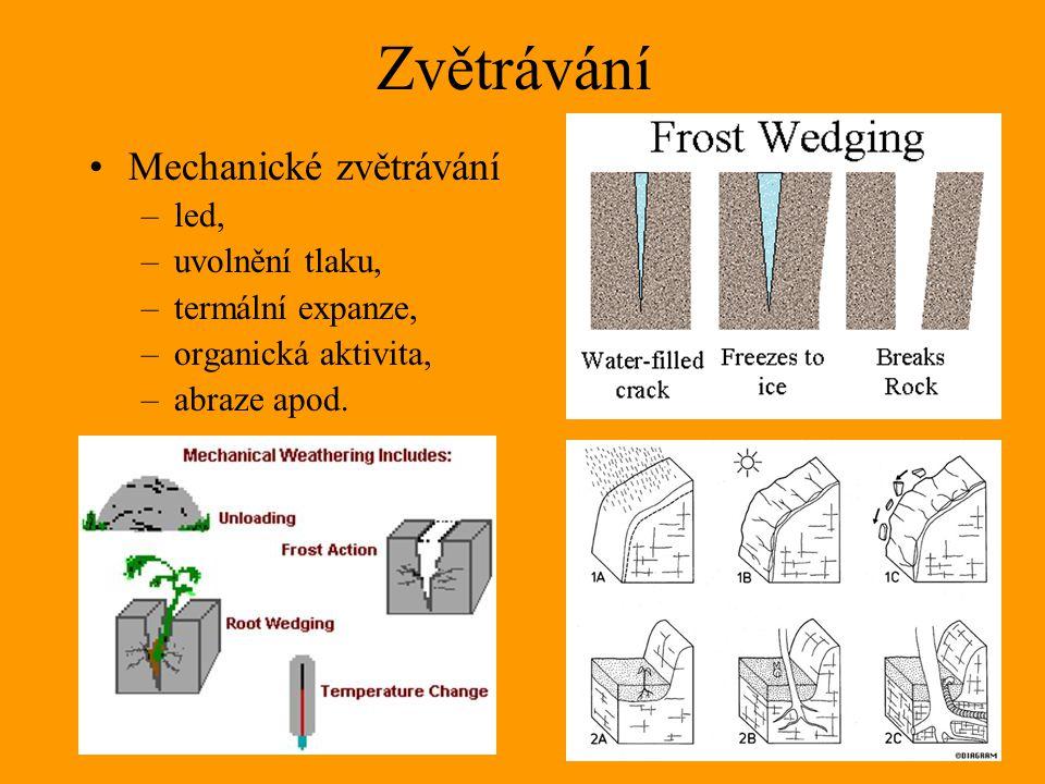 Zvětrávání Mechanické zvětrávání led, uvolnění tlaku,