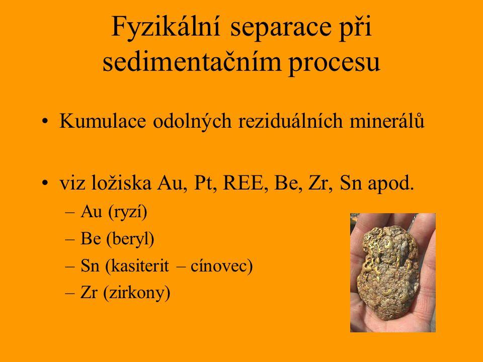 Fyzikální separace při sedimentačním procesu