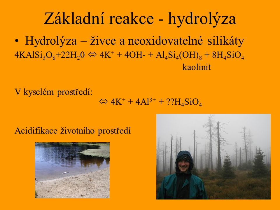 Základní reakce - hydrolýza