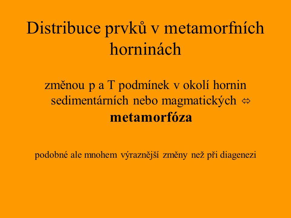 Distribuce prvků v metamorfních horninách