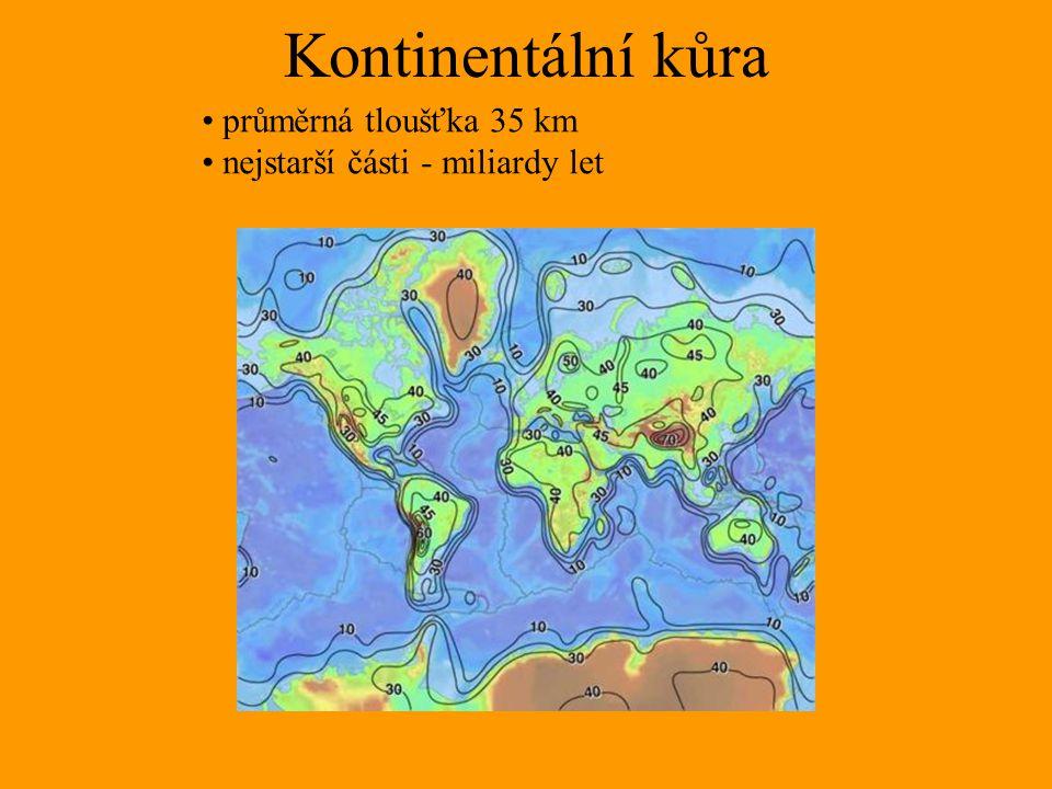 Kontinentální kůra průměrná tloušťka 35 km