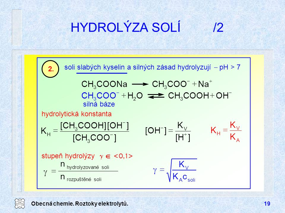 HYDROLÝZA SOLÍ /2 + Na COO CH COONa OH COOH O H K = ] [H [OH [CH COOH]