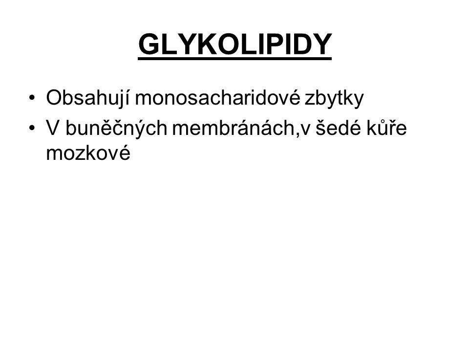 GLYKOLIPIDY Obsahují monosacharidové zbytky