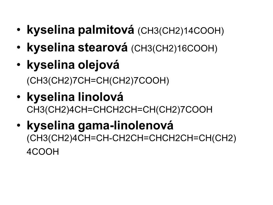 kyselina palmitová (CH3(CH2)14COOH)