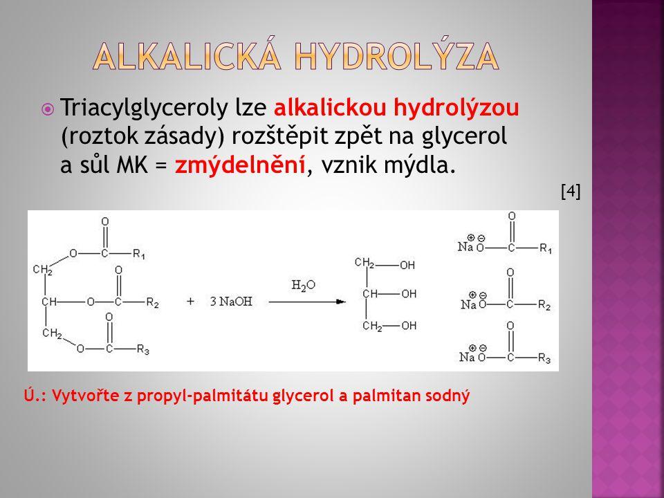 ALKALICKÁ HYDROLÝZA Triacylglyceroly lze alkalickou hydrolýzou (roztok zásady) rozštěpit zpět na glycerol a sůl MK = zmýdelnění, vznik mýdla.