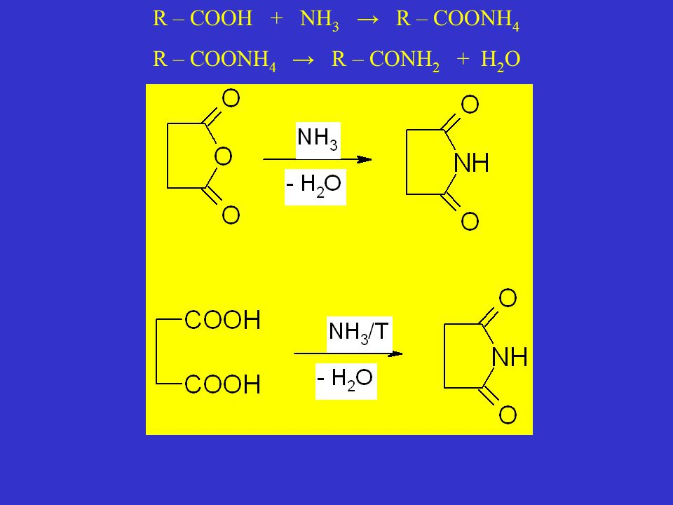R – COOH + NH3 → R – COONH4 R – COONH4 → R – CONH2 + H2O
