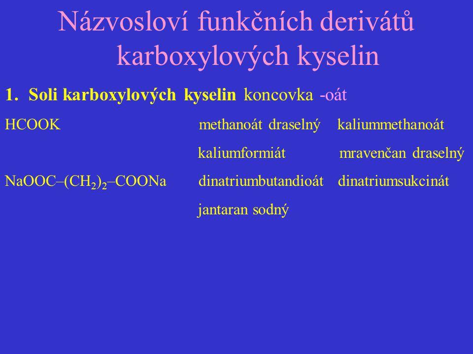 Názvosloví funkčních derivátů karboxylových kyselin