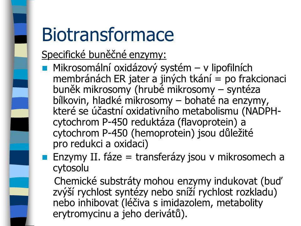 Biotransformace Specifické buněčné enzymy: