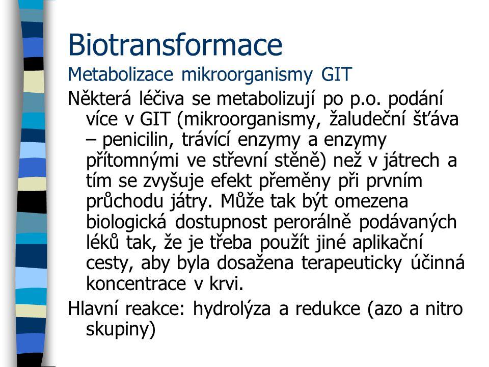 Biotransformace Metabolizace mikroorganismy GIT