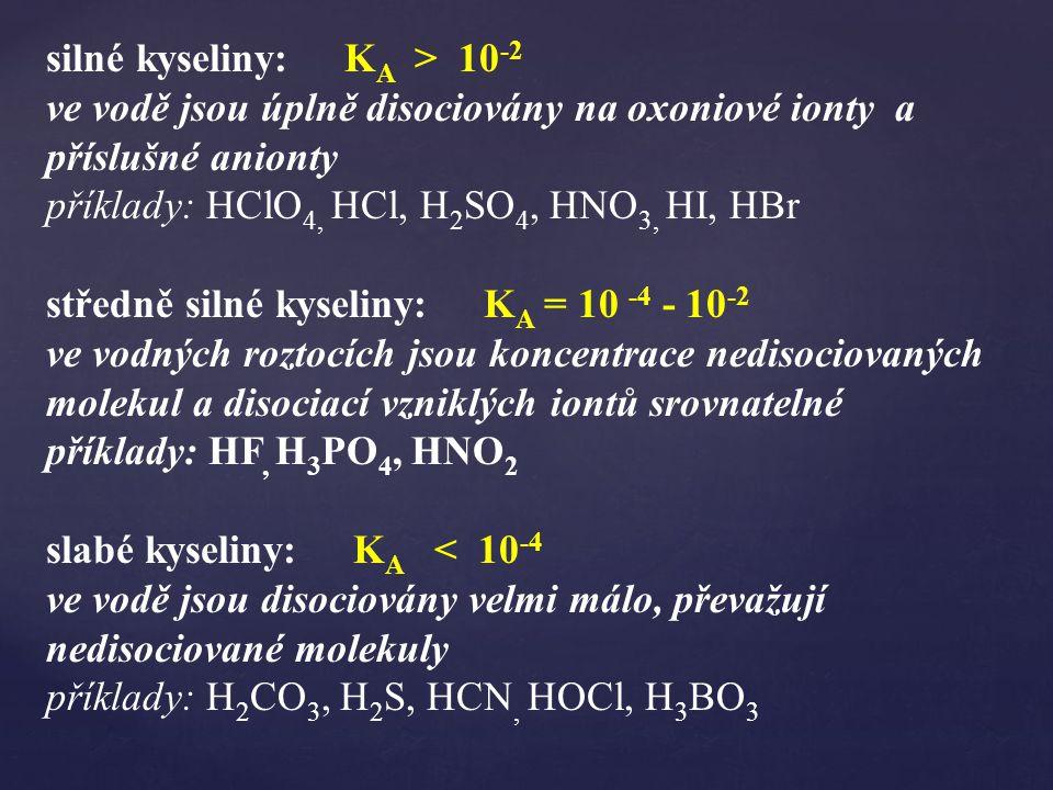 silné kyseliny: KA > 10-2