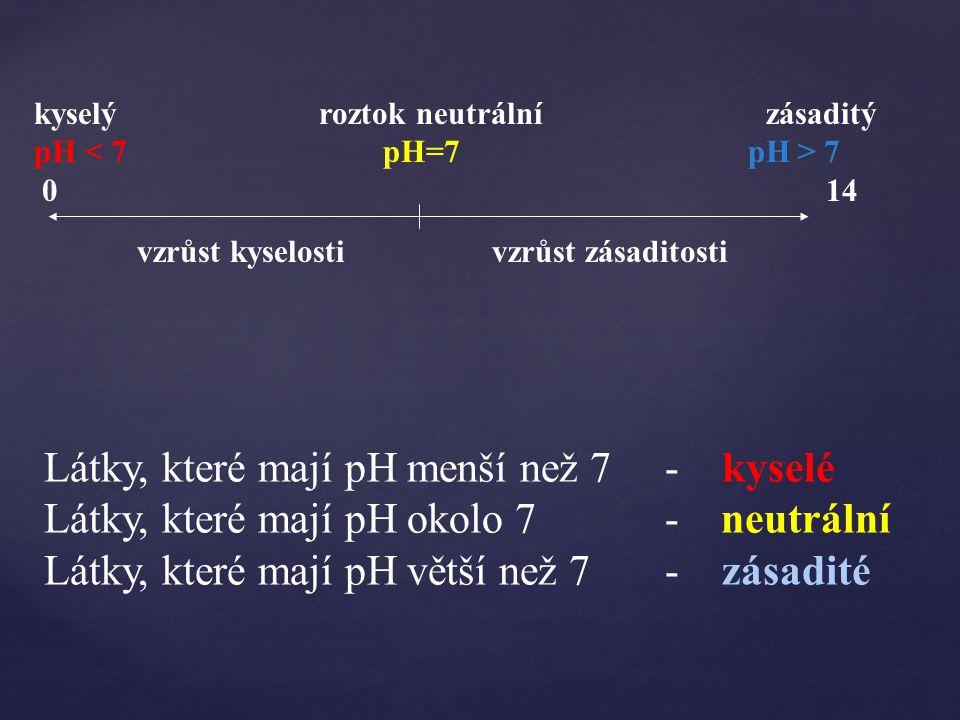 Látky, které mají pH menší než 7 - kyselé