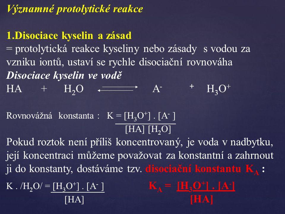 Významné protolytické reakce 1.Disociace kyselin a zásad