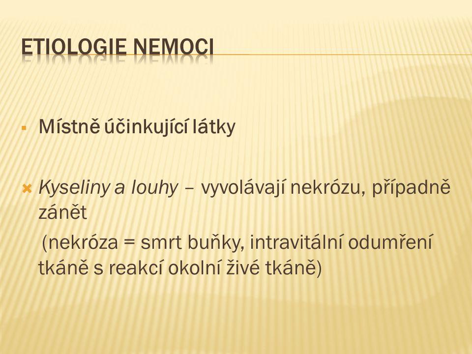 ETIOLOGIE NEMOCI Místně účinkující látky