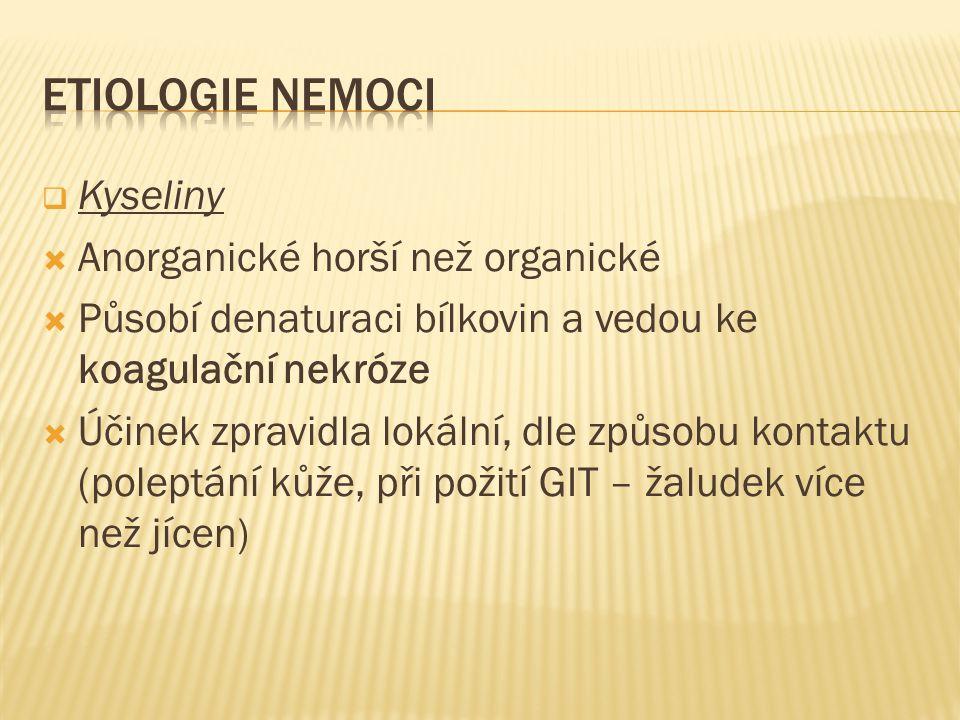 ETIOLOGIE NEMOCI Kyseliny Anorganické horší než organické