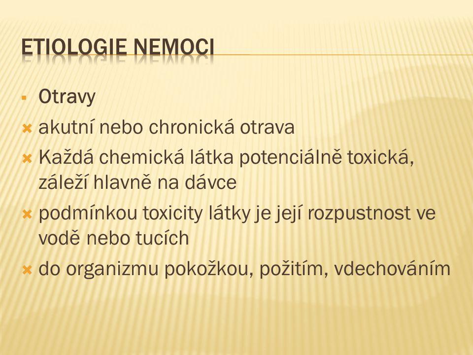 ETIOLOGIE NEMOCI Otravy akutní nebo chronická otrava