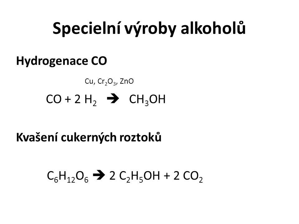 Specielní výroby alkoholů