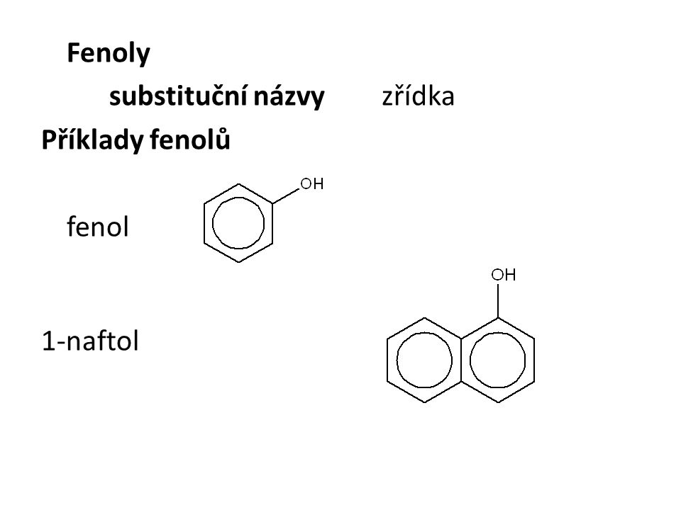 substituční názvy zřídka Příklady fenolů
