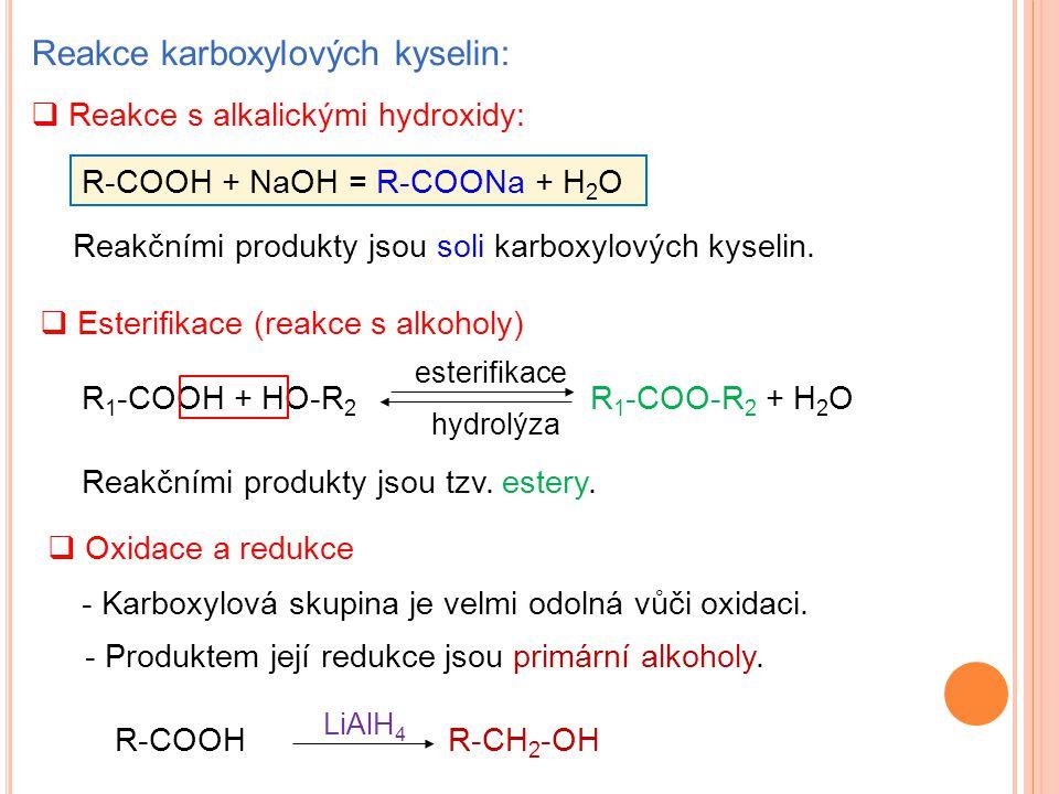 Reakce karboxylových kyselin: