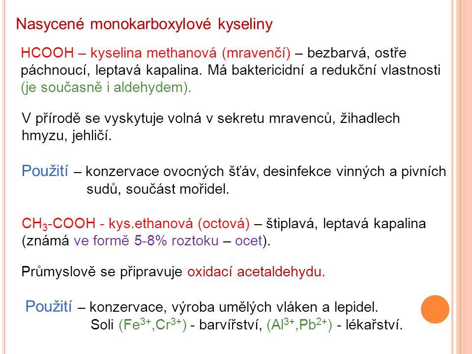 Nasycené monokarboxylové kyseliny