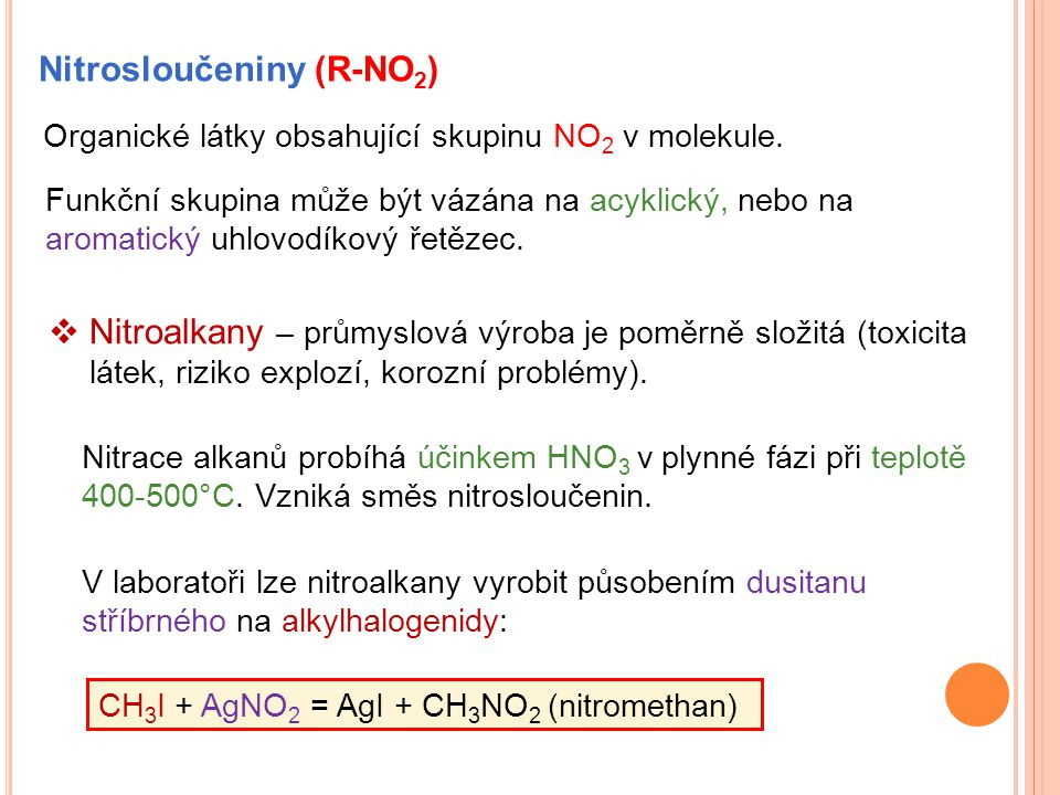 Nitrosloučeniny (R-NO2)