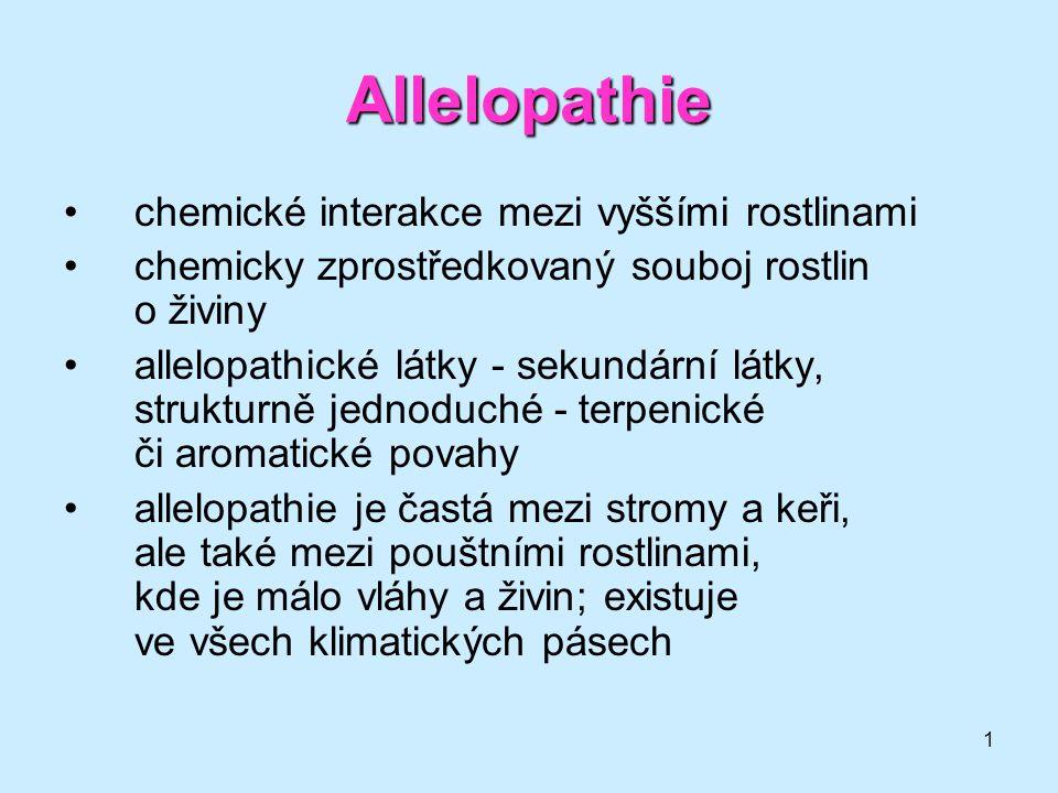 Allelopathie chemické interakce mezi vyššími rostlinami