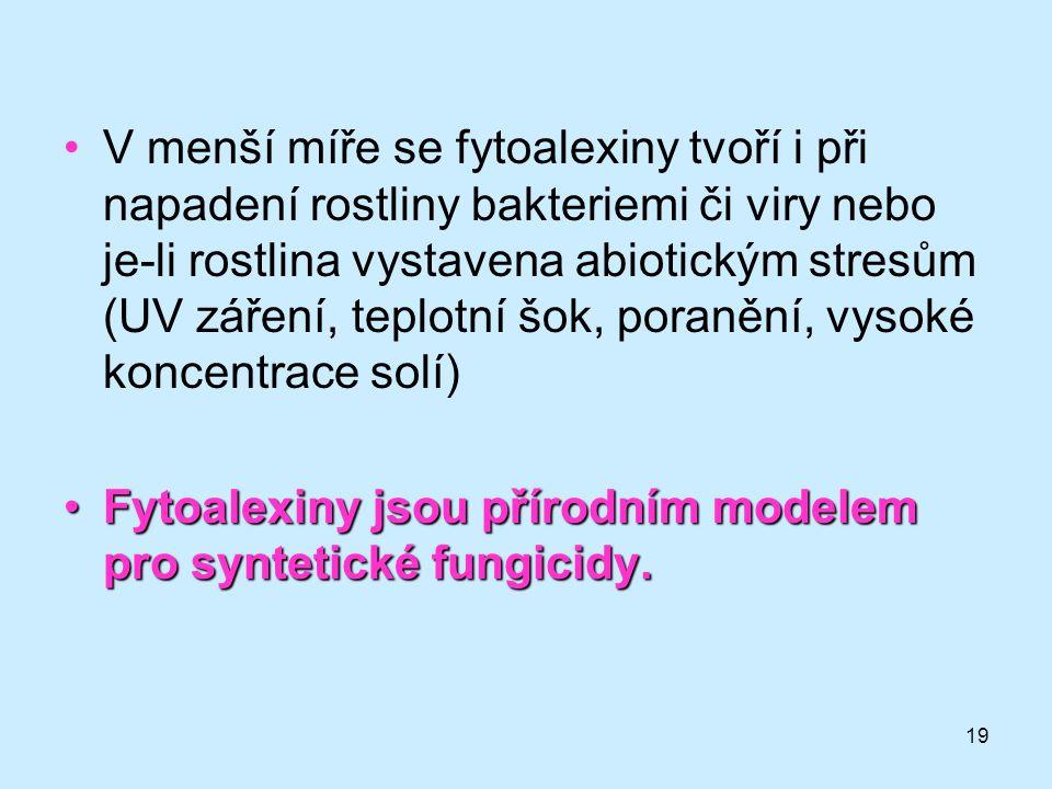 V menší míře se fytoalexiny tvoří i při napadení rostliny bakteriemi či viry nebo je-li rostlina vystavena abiotickým stresům (UV záření, teplotní šok, poranění, vysoké koncentrace solí)