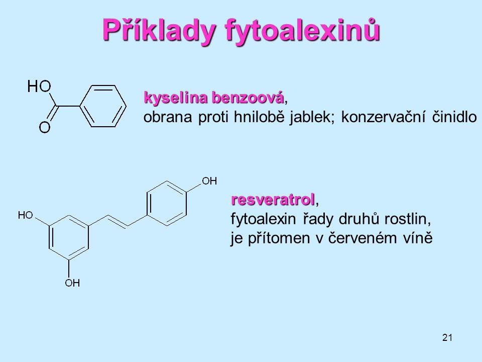 Příklady fytoalexinů kyselina benzoová,