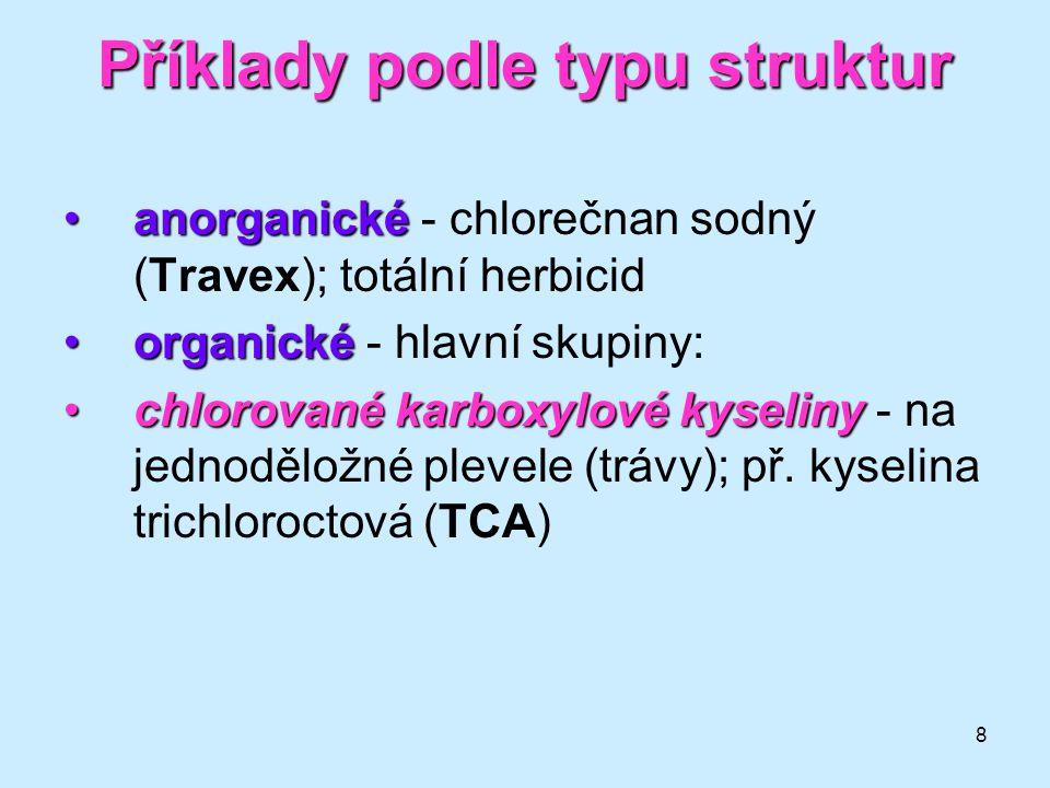 Příklady podle typu struktur