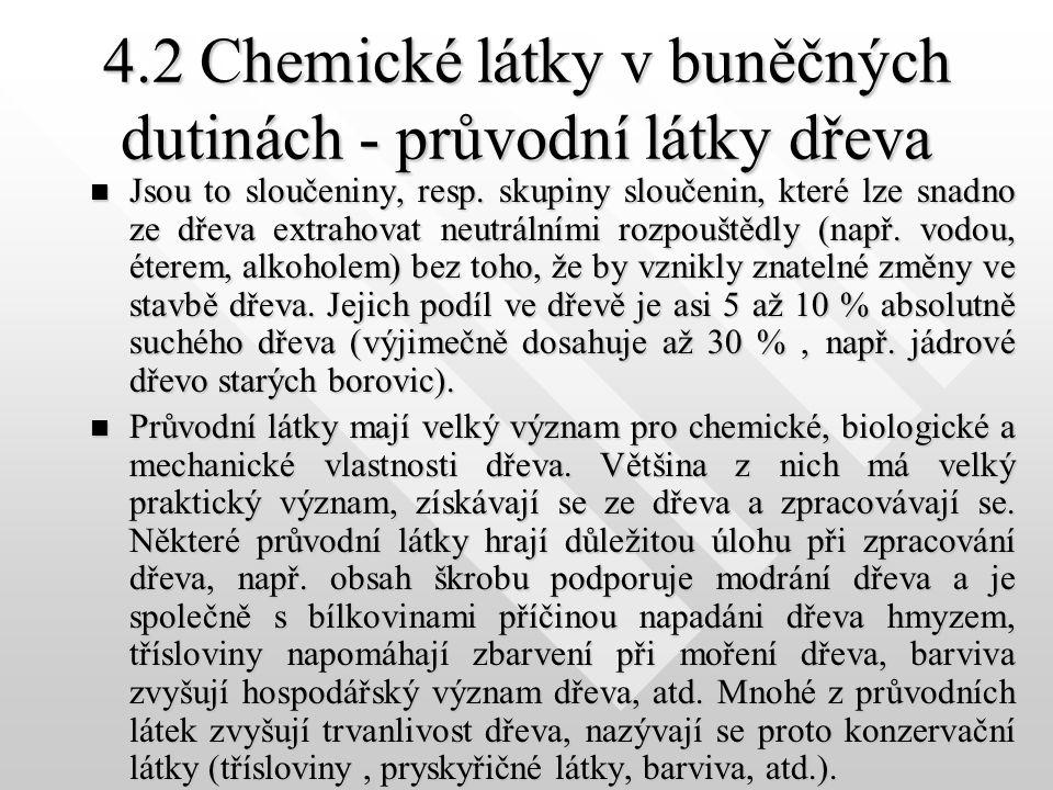 4.2 Chemické látky v buněčných dutinách - průvodní látky dřeva