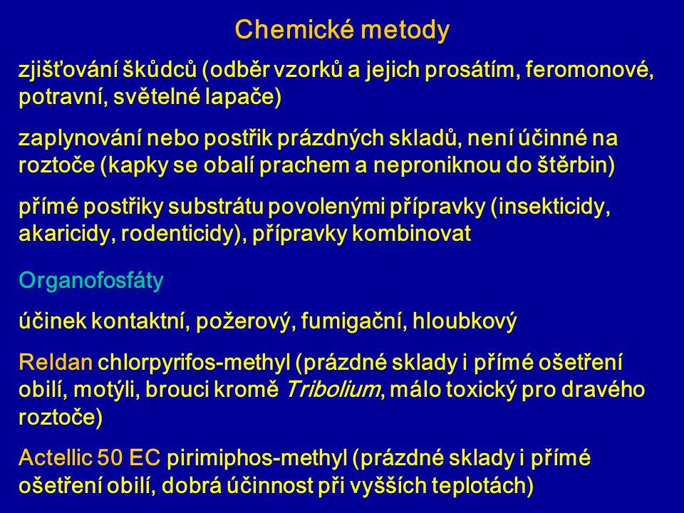 Chemické metody zjišťování škůdců (odběr vzorků a jejich prosátím, feromonové, potravní, světelné lapače)