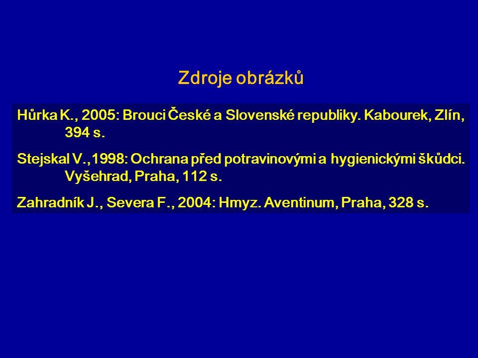 Zdroje obrázků Hůrka K., 2005: Brouci České a Slovenské republiky. Kabourek, Zlín, 394 s.