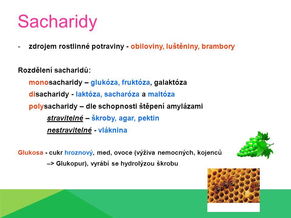Sacharidy zdrojem rostlinné potraviny - obiloviny, luštěniny, brambory