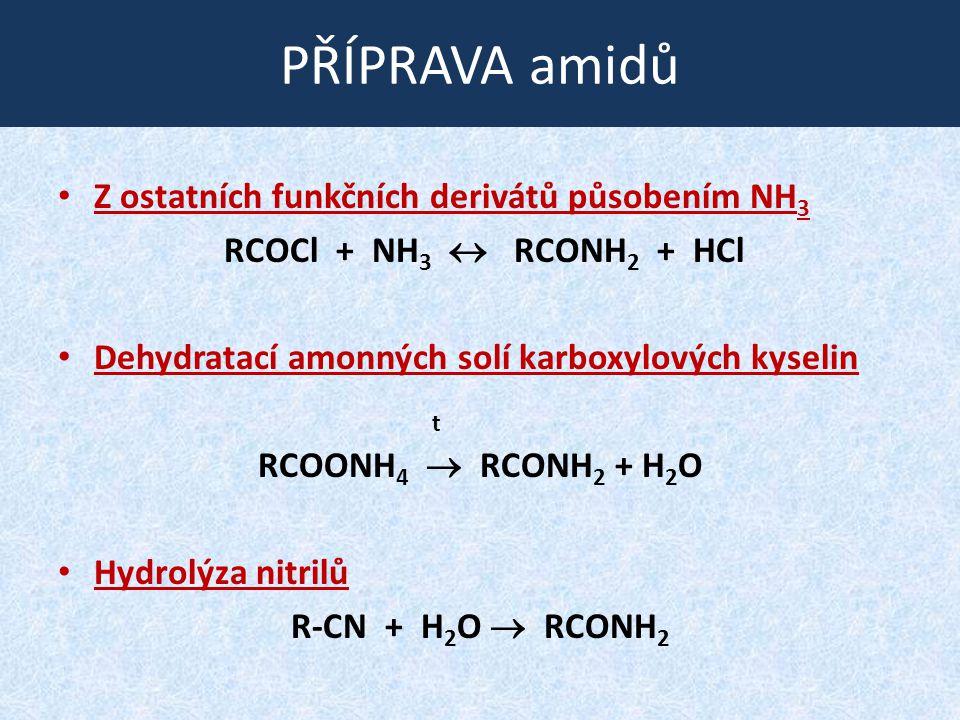 PŘÍPRAVA amidů Z ostatních funkčních derivátů působením NH3