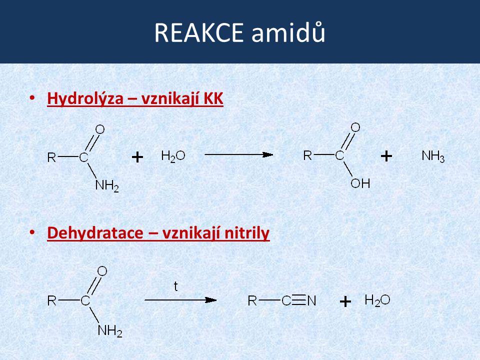 REAKCE amidů Hydrolýza – vznikají KK Dehydratace – vznikají nitrily
