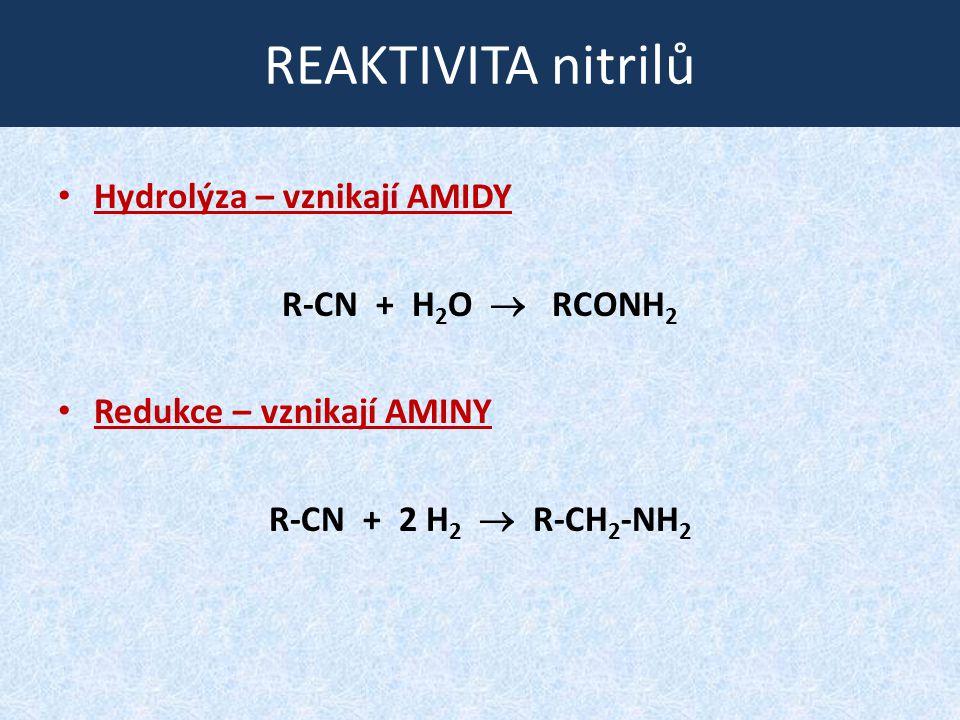 REAKTIVITA nitrilů Hydrolýza – vznikají AMIDY R-CN + H2O  RCONH2