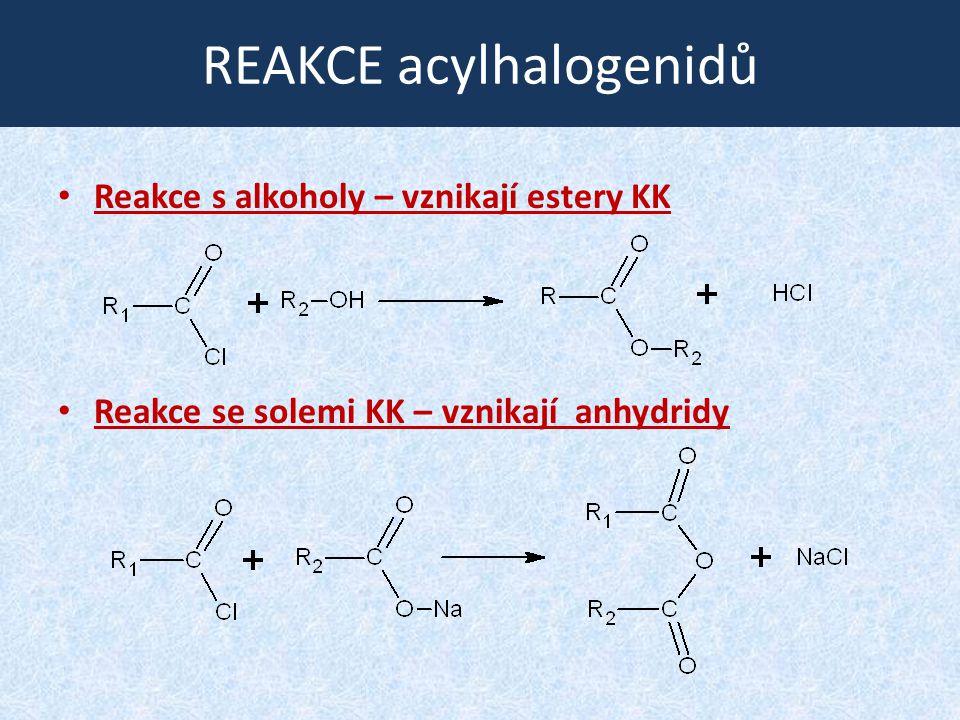 REAKCE acylhalogenidů