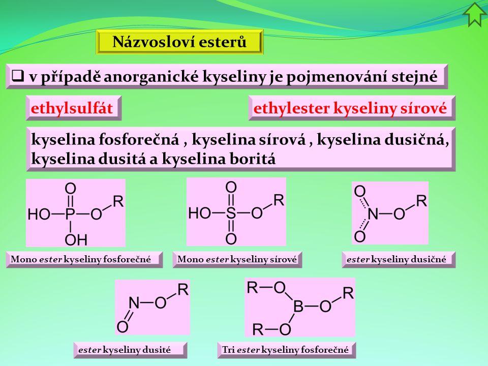 v případě anorganické kyseliny je pojmenování stejné