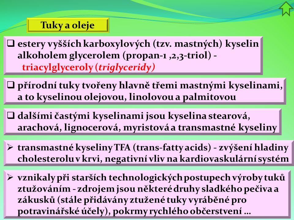 Tuky a oleje estery vyšších karboxylových (tzv. mastných) kyselin alkoholem glycerolem (propan-1 ,2,3-triol) - triacylglyceroly (triglyceridy)