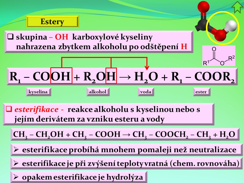 R1 – COOH + R2OH → H2O + R1 – COOR2