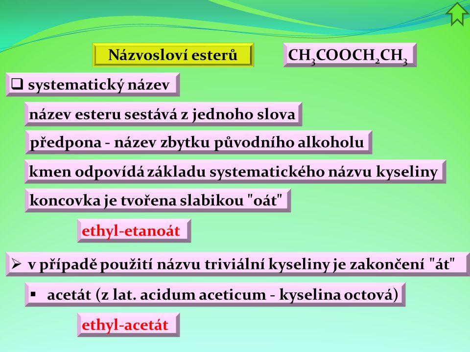 Názvosloví esterů CH3COOCH2CH3. systematický název. název esteru sestává z jednoho slova. předpona - název zbytku původního alkoholu.