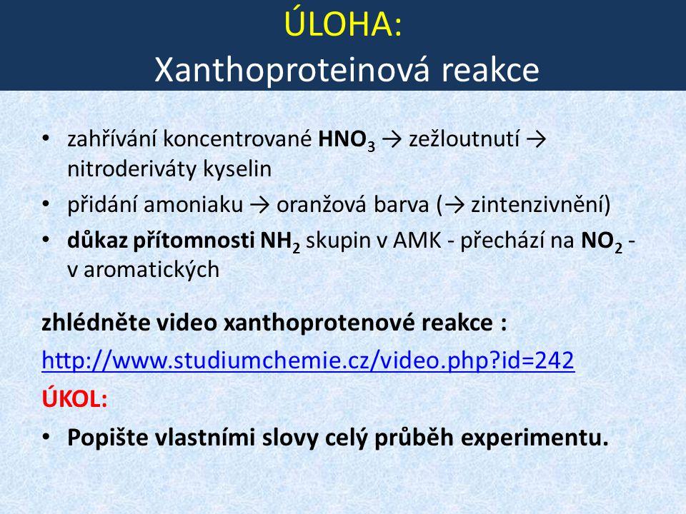 ÚLOHA: Xanthoproteinová reakce