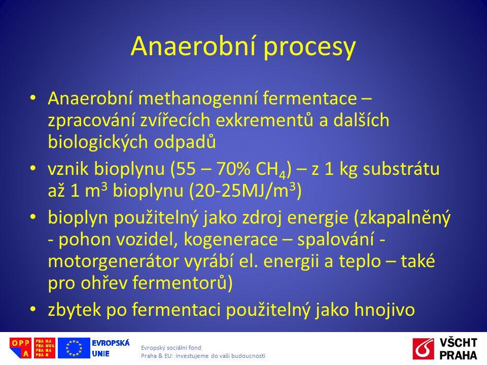 Anaerobní procesy Anaerobní methanogenní fermentace – zpracování zvířecích exkrementů a dalších biologických odpadů.
